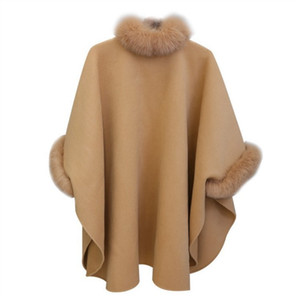 النساء معطف الصوف الرأس الأزياء الفراء معاطف للنساء ملابس الشتاء فضفاض سترة صوفية الخفافيش كم متماسكة معطف كيب المعطف