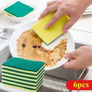 Escova do prato da esponja, esponja limpa, pano limpo, Wipe mágico, 6 partes do pacote Pano de esponja da esponja, Wipe da esponja do pano