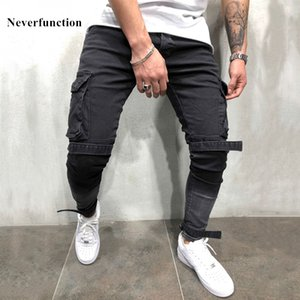 Streetwear Hip Hop Swag Man Multi-pocket Bandage Cargo Skinny Biker Jeans Distressed Motorcycle per uomo Slim Joggers Denim Pants