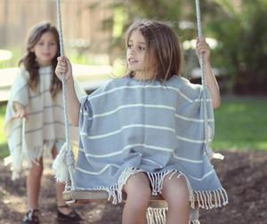 2-8 T Outono Meia Manga Moda Infantil Roupas Meninas Outwear Listrado Bonito Borla Crianças Casaco Meninas Partido Casaco