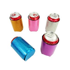 Glitter Mermaid Can Cooler Sleeves Faltbarer Getränkekühler aus Neopren mit Deckel für Bierbecheretui Aufbewahrungsorganisation FHH7-1272