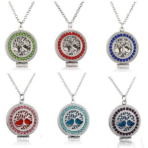 NEW Perfume Aroma Diffuser Locket Necklaces Tree of Life Pendant Magnetic Perfume Locket With Felt Pads cage pendant Jewelry 7 colors
