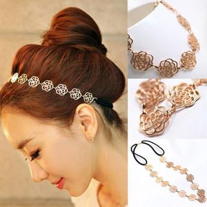 Diadema de flores elásticas de moda Lovely Metallic Women Hollow Rose Hair Head Band Headwear Accesorios Belleza Maquillaje Herramientas de peinado del cabello