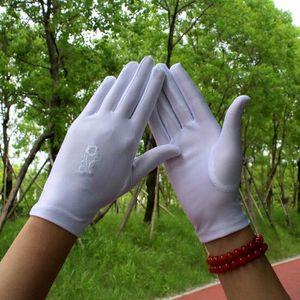 2pcs = 1pair elegante gestickte Spandex Handschuhe Frühlings-Sommer-elastische dünne Etiquette Schmuck Handschuhe Square Dance Weiß