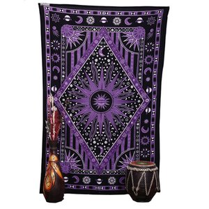 2018 Purple Burning Sun Wall Tapiz Celestial Sun Moon Planet Impreso Mandala Tapices Hippie Bohemio Toalla de playa Wall Art Blanket