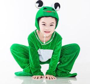 Nuevo estilo el 2018 niños Cosplay Ranas verdes Tortuga verde amarilla Adecuado para niños y niñas Traje de escenario Ropa de baile de estilo largo