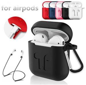 Pour Apple Airpods Housse en Silicone Souple Ultra Mince Protecteur Housse de Protection avec Anti-Perte sangle Bouchon de Poussière Paquet de Détail