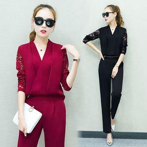 Venta al por mayor - Mujeres de moda en V camisa camisa pantalones traje nuevo 2017 otoño moda moda ropa de mujer ocio conjunto de trajes sociales de dos piezas
