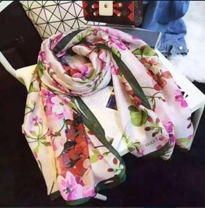 Оптовая 2019 Новая Мода Шелковый шарф для Женщин Весна Дизайнер Цветочный Цветок Длинные Шарфы Wrap With Tag 180x90Cm Шали