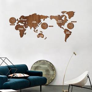 Творческий деревянный карта мира настенные часы 3D карта декоративный дизайн домашнего декора гостиной современный европейский стиль круглый немой Relogio де Parede