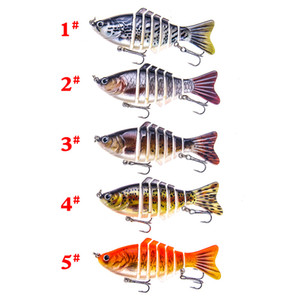2019 Multi Jointed Vivid baits Hooks 10cm 16g 7 Segments Artificial Realistic Fish Musky Bass Fishing lure For Bass Freshwater Saltwater