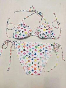 Maillot de bain de marque coloré femmes bikini deux pièces bandage maillot de bain designer lady impression maillot de bain sexy huit couleurs