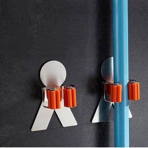 Novo Vassoura Cabide Mop Titular Broom Organizer Clips de Fixação Na Parede Do Banheiro Mop Escova de Armazenamento De Escova