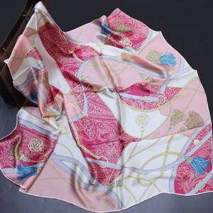 Luxo primavera outono verão nova praia selvagem protetor solar xale de seda 110 cm generosa das mulheres pintura 100% real silk big lenço feminino