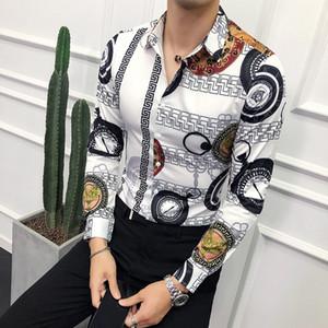Outono nova tendência floral cavalheiro versão coreana do impresso camisa de mangas compridas cena noturna Men Slim assimétrica irregular