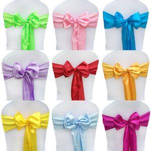 Satin chair cover sash bow tie ribbon decoration forniture festa di nozze in raso telai per sedie da sposa deocoration