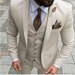 Bej Erkekler Suits Tek Göğüslü Çentikli Yaka Düğün Parti Suit 3 parça Trim fit erkekler suit damat smokin kostüm Yelek Ceket Pantolon