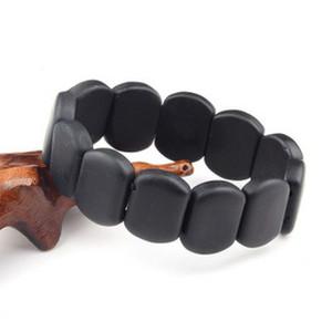 BIAN Natural Pedra Preto contas de massagem pulseira bian guasha Do Vintage prevenir a doença Para reduzir a pressão arterial Alta gordura no sangue yoga