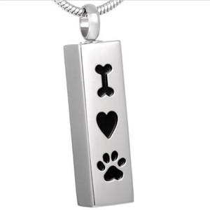 Amo mi perro Memorial Cremation Jewelry Urn Memorial Keepsake Pendant Pet Paw Print Collar de acero inoxidable de regalo (Cubo de plata)