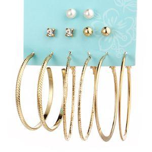 Diseñador pendientes de metal 6 pares de traje de perlas pendientes redondos grandes personalizados al por mayor envío gratuito