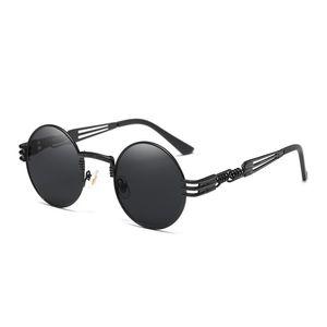 Venta caliente del marco Gafas de sol redondas Steampunk mujeres de los hombres gafas de moda con el metal gafas de sol retro vendimia UV400 Eyewear barato