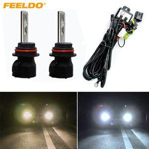 FELELO 2x لمبات السيارات HID 9004/9007 Hi / Lo Bi-Xenon + Harness Xenon استبدال لمبات Hid لمبات المصابيح # 2223