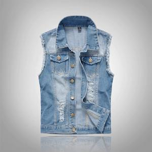 2018 Coton Jeans Sans Manches Veste Hommes Plus La Taille 6XL Bleu Foncé Denim Jeans Gilet Hommes Cowboy Denim Vest Hommes Vestes