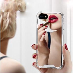 아이폰 7 7 플러스 럭셔리 거울 전화 케이스 TPU PC 다시 아이폰 X 6 6 8S 커버에 대 한 보호 케이스 귀고리 귀여운 케이스 반영