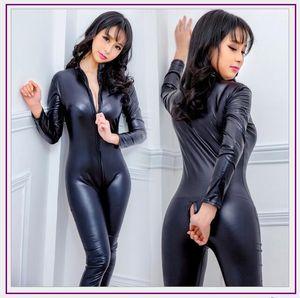 Nouveau Faux En Cuir Lingerie Combinaison Sexy Corps Costumes Femmes Pvc Teddy Érotique Zentai Justaucorps Costumes Latex Pole Danse Body