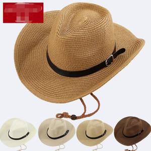 Straw Braid Men Cowboy Hats con hebilla Western American Mens Hat Lady Beach Hats Hombres Sombrero de vaquero Wide Brim Cap Beach Caps 5 colores