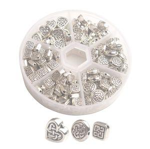 Una scatola di 180pcs argento Antiqued metallo Celtic Knot Spacer Beads per fare gioielli