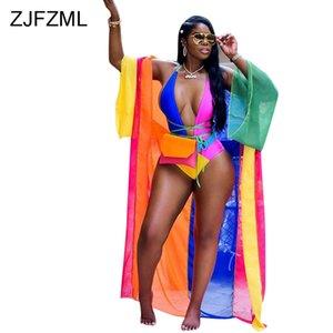 ZJFZML 색 블록 섹시한 2 개의 두 조각 세트 여성 깊은 V 넥 외장 한 조각 바디 슈트 + 전체 슬리브 x- 롱 코트 여름 해변 의상