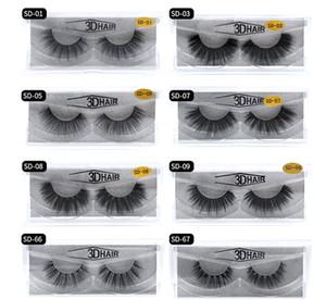 Hot 11 styles Vente 1 paire / lot 100% de vrais visière sibérienne 3D Full Strip Faux cils longs Cils individuels Mink Lashes Extension