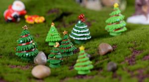 10 قطع 2 ألوان عيد الميلاد شجرة مصغرة تمثال دمية حديقة ديكور المشهد الصغير الديكور زينة المناظر الطبيعية الصغيرة