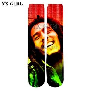 YX GIRL 2018 estate Nuovo stile Moda calze al ginocchio Reggae musica Bob Marley caratteri Stampa 3d Calze donna Hip Hop da donna