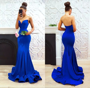 Classic royal blue mermaid evening dresses Cheap simple sweetheart sweep train matte satin trumpet formal evening prom party gowns long