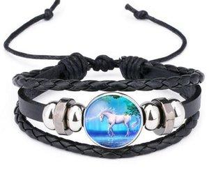 12 Farben Pegasus Einhorn Armband Handgemachte Leder Multilayer Wrap Armband Armreif Manschette Armbänder Zeit Edelstein Armbänder Modeschmuck