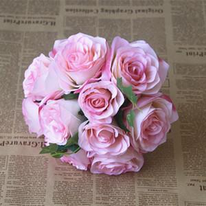 رخيصة العديد من الزهور الملونة عالية المستوى البلد الزفاف باقة الزفاف مع مزيج الاصطناعي روز زهرة حر shiping ستايل لحضور حفل زفاف