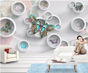 Çember Takı Çiçek Kelebek Duvar Resmi Fotoğraf Wallpaper Yatak Odası Duvar Dekoru papel de Parede 3d Küçük Boyut Numune için Boyama