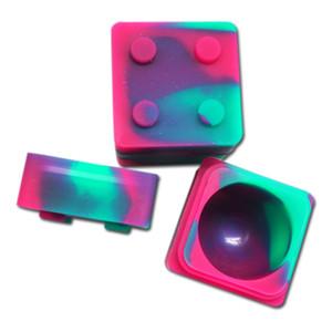 10pcs / lot 9ml mini Cube forma contenitore di silicone di colore assortiti per Dabs Forma rotonda contenitori di silicone cera Barattoli di silicone Dab contenitori