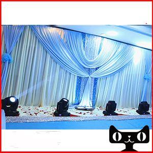 3 * 6 متر الجليد الحرير حفل زفاف مرحلة الاحتفال خلفية الفضة الترتر نسيج الحرير ثنى الستار عمود سقف خلفية الزواج ديكور