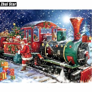 5D DIY Алмаз живопись Рождество Санта-Клаус поезд полный квадратный горный хрусталь вышивки крестом Алмаз вышивка мозаика декор xsh