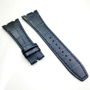 Bande de sangle en cuir de veau de luxe de haute qualité de 26 mm / 18 mm de couleur bleu foncé pour AudemarsPiguet Royal Oak