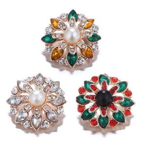 Nouveau mode strass cristal fleur bouton pression charmes ajustement 18mm bouton pression bricolage bracelet Neckalce pendentif bijoux 10pcs / lot
