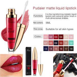 Pudaier Antihaft-Tasse Lipgloss Pearlite Glitter Flip Lippenstift 18 Farbklassischer klarer Lipgloss-Diamant-wasserdichter flüssiger Lippenstift Heißer Verkauf