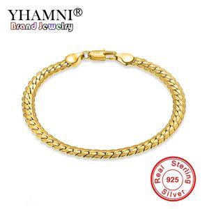 YHAMNI HomensMulheres Pulseiras De Ouro Com 18 KStamp Nova Moda Pure Gold Cor 5 MM de Largura Único Cobra Cadeia Pulseira Jóias De Luxo YS242