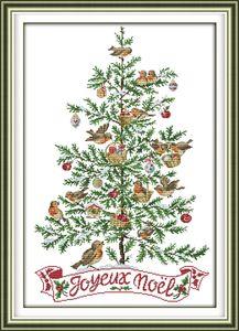 A árvore de Natal com pinturas da decoração do pássaro, Handmade Cross Stitch Bordado Needlework conjuntos de impressão contados sobre tela DMC 14CT / 11CT
