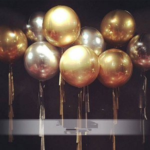 22 pulgadas de oro / plata 4D cubo redondo en forma de papel de aluminio globo de helio feliz boda cumpleaños fiesta decoración suministros 8 colores