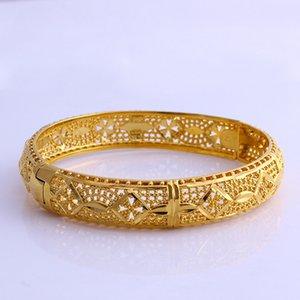 Creux Womens Bracelet Ouvert Bijoux 18K Or Jaune Rempli Solide Mode Accessoires Pour Les Femmes Parti Dia 60mm
