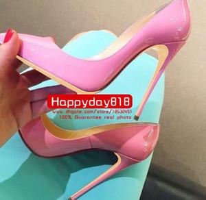 Бесплатная доставка мода женщин розовый лакированная кожа точка toe обувь на высоких каблуках тонкий каблук Обувь насосы из натуральной кожи 120 мм 10 см 8 см новый